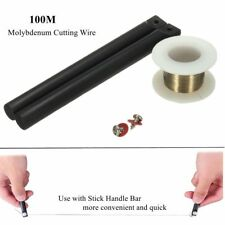 100m 0.1mm Phone LCD Screen Molybdenum Separating Cutting Wire +Stick Handle Bar