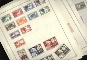 LAOS,  Excellent assortment of Stamps hinged on  Scott pages