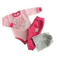 Baby Infant Girls 3 Pcs Set *Bodysuit +Trousers/Joggers +Hat 3-6/6-9/9-12 Months