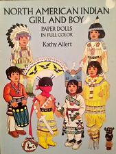 North American Indian Girl & Boy Paper Doll Book,1992, Uncut 8 pgs, Kathy Allert