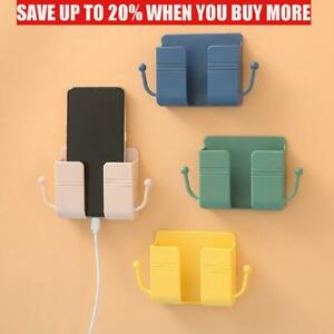 Wall Mount Remote Control Storage Phone Holder Data Cable Hooks Phone Stand