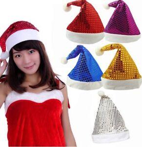 Adult Sequin Xmas Hats Christmas Red Gold Santa Fancy Dress Costume Uk LOT