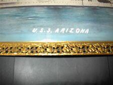 ☆ USS ARIZONA BB-39 ANTIQUE VINTAGE NAVY BATTLESHIP PAINTED PHOTO & FRAME ☆