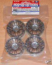 Tamiya 84152 Medium-Narrow 18-Spoke Wheels (Chrome/±0), (TRF418/TRF419) NIP