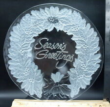VINTAGE GLASS LARGE FROSTED SEASON'S GREETINGS PLATTER