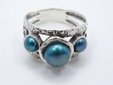 PZ Paz Creations ISRAEL BLUE PEARL TEXTURED STERLING RING ~ sz 7.5