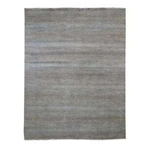 """8'10""""x12'2"""" Brown Grass Design Wool and Silk Hand Knotted Oriental Rug R66055"""