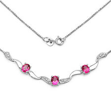 STERLING SILVER PINK TOPAZ & DIAMOND NECKLACE ANNIVERSARY MOTHERS DAY GIFT