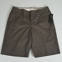 BANANA REPUBLIC MARTIN FIT Bermuda Shorts Size 8 Womens Brown Stretch Cotton NWT