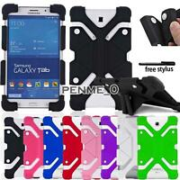 """For Various 7"""" 8"""" Samsung Galaxy Tab Shockproof Silicone Stand Cover Case+stylus"""