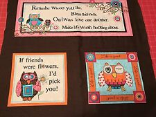 Fabric Owl Adornit Life's A Hoot Panel Pink Fabric 3 Cut Squares Not 1 Piece
