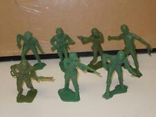 Vintage lot 7 Green Military Field Army Soldiers Plastic WarToy Figures 60s HTF