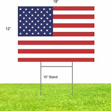 "5 Pack American Flag Plastic Sign 12"" x 18"" Usa Freedom Troop Yard Stake"