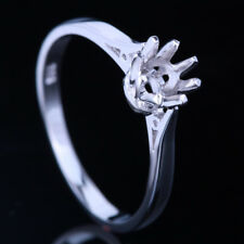 5-5.5mm Round Cut Solitaire Semi Mount Wedding Party Ring Solid 10K White Gold