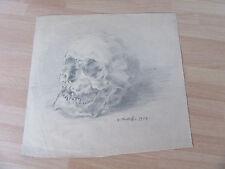 DESSIN ORIGINAL CRAYON VANITE TETE DE MORT 1914 SIGNE S. MONTEIL