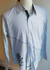 English Laundry Striped Flip Cuff Military Inspired Shirt XL Black and White