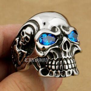 LINSION 316L Stainless Steel Blue CZ Eyes Titan Skull Mens Biker Ring 3A201B