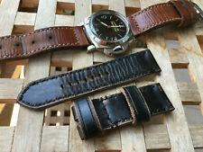 26 mm handmade ,leather watch strap .130/80 .Distressed black .Fits Panerai .