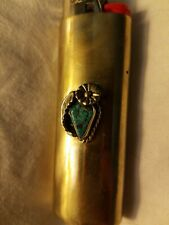 Vtg Western Cover Case Lighter Holder w/Sterling Silver Turquoise Concho fit Bic