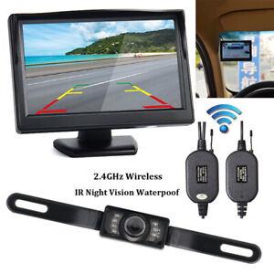 "5"" Wireless Car Rear View Camera 170° CMOS & Dash Cam LCD Monitor Night Vision"