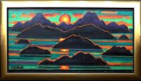 Erich Waske 1889-1978: Vulkan-Inseln Meer Sonnenuntergang Gemälde meisterlich