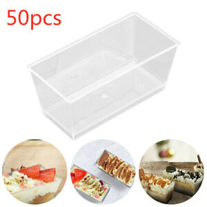 50Pcs 110ML Clear Plastic Disposable Cuboid Cup Jelly Trifle Brownie Cheesecake