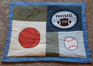 Quilted Sports Pillow Sham Football Baseball Basketball Boy or Girl