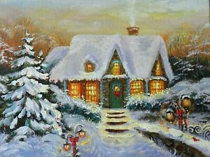 OIL PAINTING SNOW  WINTER CHRISTMAS HOLIDAY Hand Painted by Artist #2