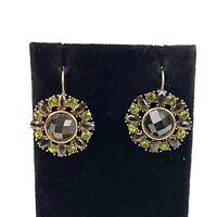 Vtg MONET Gold Tone Green Faceted Gem Beaded Flower Circle Drop Earrings