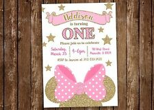 Minnie Mouse, Pink, Gold, Birthday Party Invitation