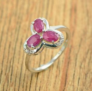 Oval Cut Pink Ruby Gemstone 925 Sterling Silver Flower Ring Jewelry Size US 4-8