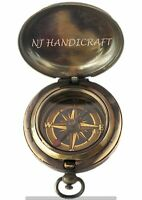 Vintage Brass Pocket Compass Nautical Marine Antique Collectibles Push Gift Item