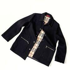 Women's Burberry London Black Wool Coat Jacket Nova Check Size 46