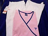 Barco Medical Scrub Set Nrg 320 White pants & Pink Quartz Mock Wrap Large New