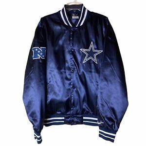 Vintage Nike Dallas Cowboys Satin Jacket Navy Blue Size X-Large XL