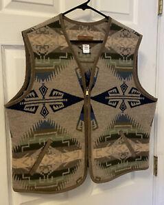 PENDLETON Wool Blend Western Vest Southwest Aztec Full Zip EUC XL