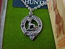 Art Pewter Silver Hunter Scottish Clan Crest Pendant & Chain