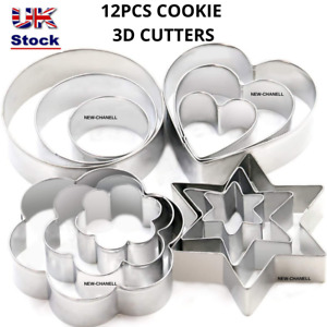Cookie Cutter Set Stainless Steel Cutters Baking Cookies 12 pcs Pastry Biscuit