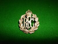 THE ROYAL FLYING CORPS RFC KC KINGS CROWN GENUINE WW1 BRASS CAP BADGE with LUGS