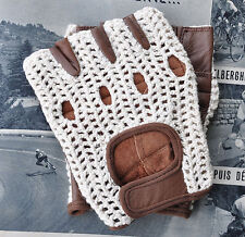 Vintage Style Ivory & Brown Leather Crochet Cycling Gloves Track Mitts L'Eroica
