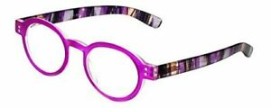 Calabria 255 Vintage Oval Reading Glasses Layer Crystal Pink Fuchsia+1.75