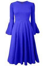 Womens Swing Flared Peplum Frill Long Bell Sleeve Ladies Midi Skater Dress Plus Size UK 18 Royal Blue - Celebrity Celeb Night out Party Wear