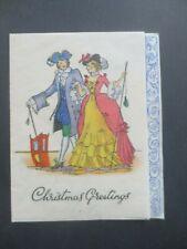 Vintage CHRISTMAS Card 1930s Art Deco Crinoline Lady & Gent Promenading