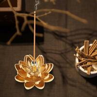Gold Mini Lotus Line Incense Burner Holder Flower Statue Censer Plate Home Aroma