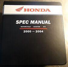 HUGE 2000-2004 HONDA DEALER MOTORCYCLE, SCOOTER, & ATV SPEC MANUAL (215)