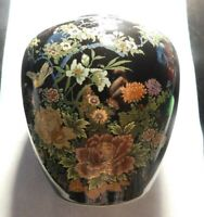 BLACK ASIAN VASE WITH FLOWERS!    FF400QXX