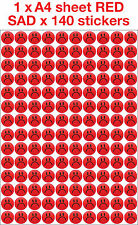 Kids Children's Teachers Reward 19mm SAD Face Stickers IN RED x 140