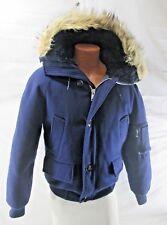 HUDSON BAY Goose Down 100% Virgin Wool Real Fur Hooded Coat Womens M