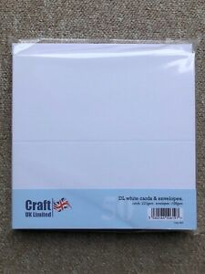Craft UK  DL White Straight edged CARDS (225GSM) & ENVS(100GSM)-50 PK-SCORED