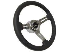 1969 - 1989 Chevy Camaro 6 Bolt Black Leather Steering Wheel Kit | Script Emblem